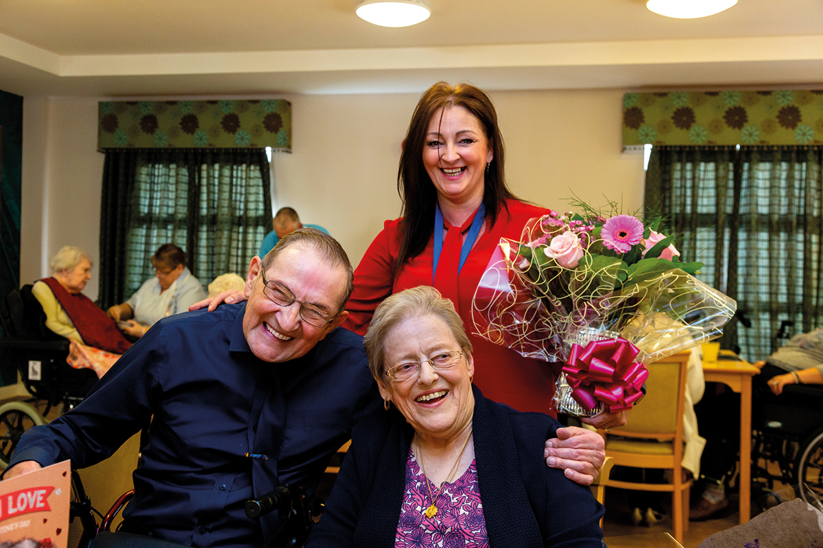 The happy couple were presented with a bouquet of flowers from Longhurst Group's Head of Older Persons Care, Sarah Rodwell