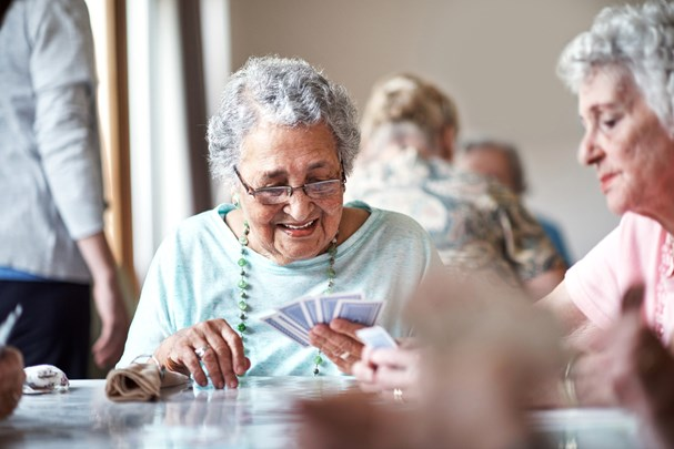 Older ladies playing cards