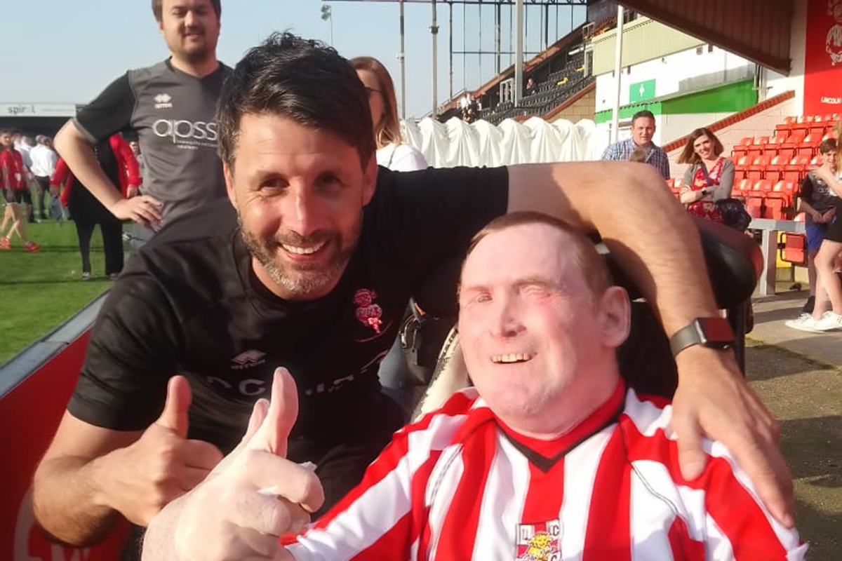Lincoln City FC manager Danny Cowley meets superfan David Wragg