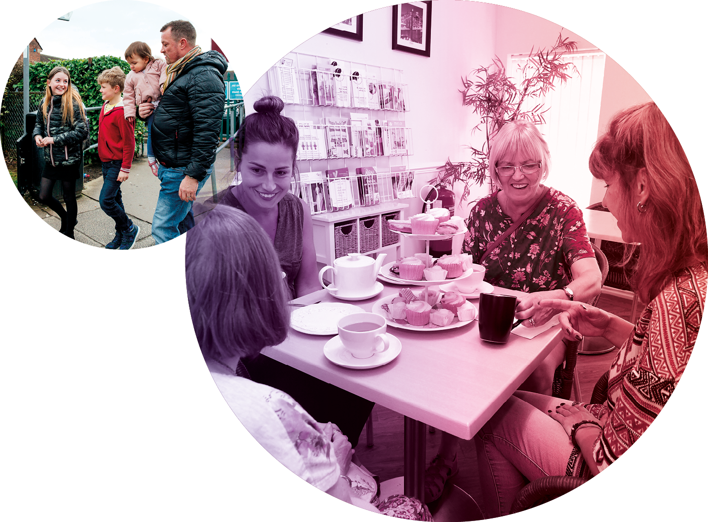 Images of family coming home from school and a care home tea party