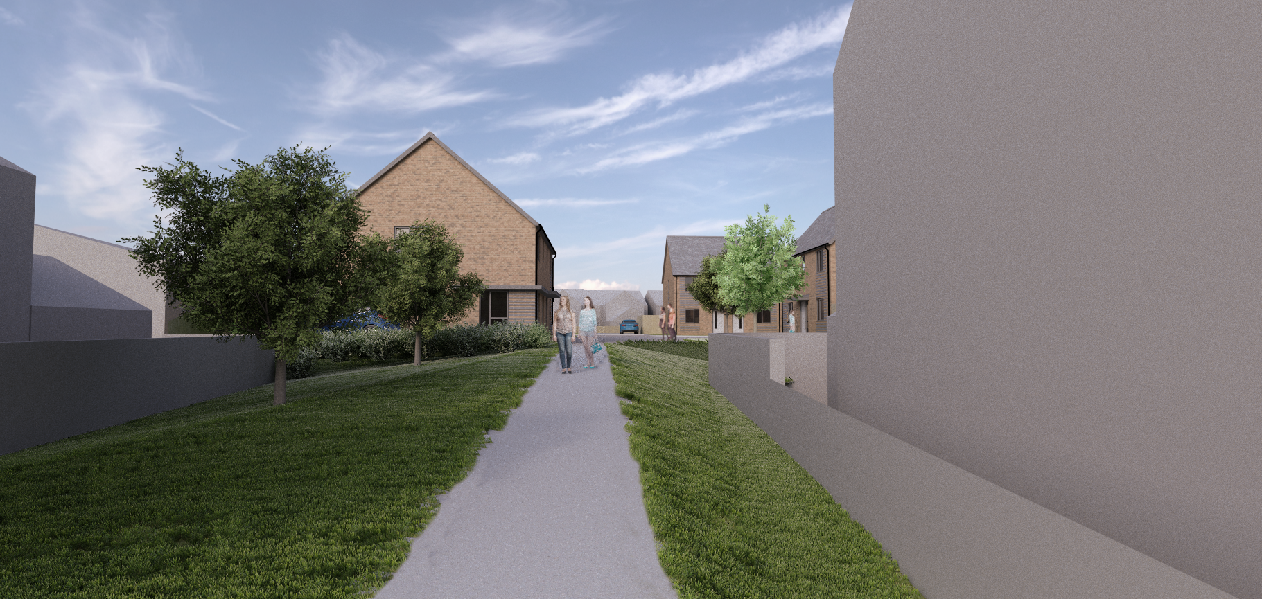Mock up image of planned development. People walking on a footpath and homes in the background.
